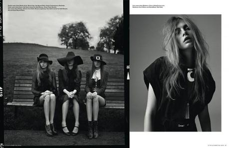 Cara Delevigne,Codie Young, Charlie Bredal, Louise Parker and Magda Laguinge by Richard Bush for the pre-spring issue of i-D Magazine