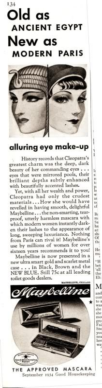 Rare 1934 Maybelline ad claims Ancient Maybelline Proverb may still be viable today...or not.