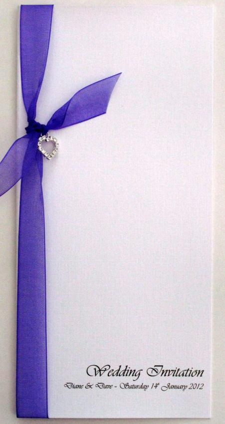 wedding invitation with organza ribbon