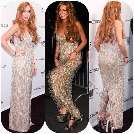 Celeb Style: Lindsay Lohan attended the amfAR New York Gala to...