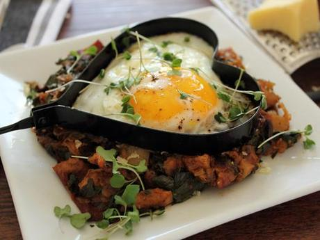 Swiss Chard, Potato, and Caramelized Onion Hash with a Heart-Shaped Egg