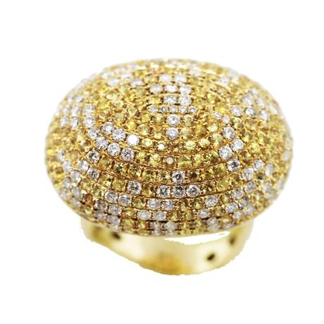 18K Yellow Gold, Diamond and Yellow Sapphire Pave Domed Ring