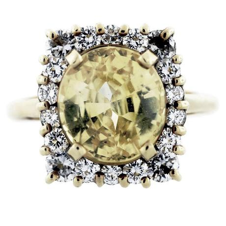 Fancy Yellow Sapphire 18K Yellow Gold and Diamond Cocktail Ring