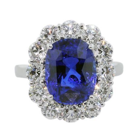 Vivid Blue Sapphire Diamond Platinum Cocktail Ring, sapphire cocktail rings