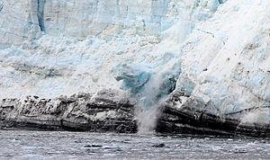 English: A chunk of ice calving off of Margeri...