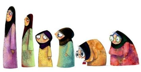 Miriam's first sketches of different types of burka ladies - too cute.