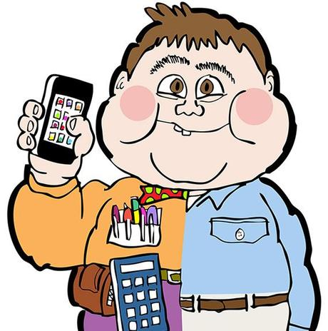 detail image for illustration that mimics the Garbage Pail Kids bubble gum cards that were a craze and very popular back in the 1980s shows a half-and-half kid one half a normal guy with khaki pants and loafers and button-down shirt, the other half a geek with loud ugly clothes, high-water pants pocket-protector, calculator, toolkit, iPhone, and untidy appearance