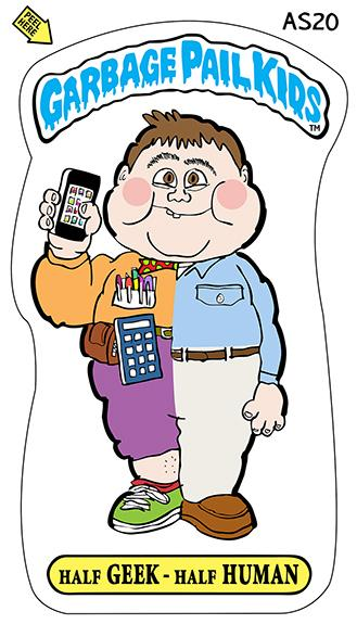 illustration that mimics the Garbage Pail Kids bubble gum cards that were a craze and very popular back in the 1980s shows a half-and-half kid one half a normal guy with khaki pants and loafers and button-down shirt, the other half a geek with loud ugly clothes, high-water pants pocket-protector, calculator, toolkit, iPhone, and untidy appearance