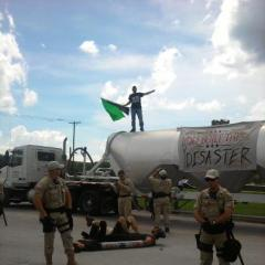RNC 2012 action organized by Everglades Earth First! and the EF! J Collective... proof we don't just work in an office, folks!