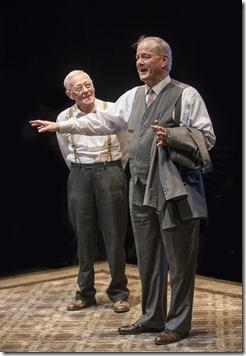 Petey (ensemble member John Mahoney) greets Goldberg (ensemble member Francis Guinan) upon his arrival in Steppenwolf Theatre Company's production of The Birthday Party by Harold Pinter, directed by ensemble member Austin Pendleton.