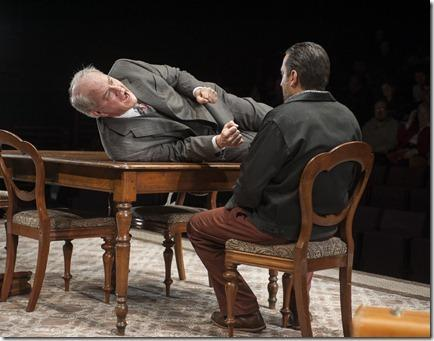 Goldberg (ensemble member Francis Guinan) and McCann (Marc Grapey) in Steppenwolf Theatre Company's production of The Birthday Party by Harold Pinter, directed by ensemble member Austin Pendleton.