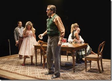 (center) Stanley (ensemble member Ian Barford) celebrates his birthday with (left to right) McCann (Marc Grapey), Meg (ensemble member Moira Harris), Lulu (Sophia Sinise) and Goldberg (ensemble member Francis Guinan) in Steppenwolf Theatre Company's production of The Birthday Party by Harold Pinter, directed by ensemble member Austin Pendleton.