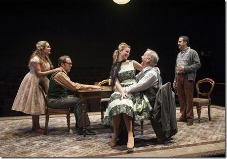 (second from left) Stanley's (ensemble member Ian Barford) birthday party continues with (left to right) Meg (ensemble member Moira Harris), Lulu (Sophia Sinise), Goldberg (ensemble member Francis Guinan) and McCann (Marc Grapey) in Steppenwolf Theatre Company's production of The Birthday Party by Harold Pinter, directed by ensemble member Austin Pendleton.
