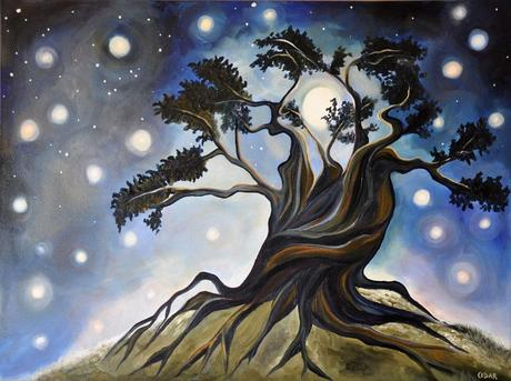 3 New Oil Paintings: Tree of Life, Star Clouds & Fiery Colors