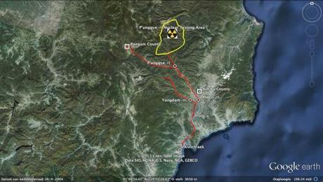 Overview of area around the nuclear test area near Punggye-ri, Kilchu County, North Hamgyo'ng Province.  The red lines denote the closure or roads to human and vehicular traffic (Photo: Google image, route lines and annotations by M. Madden/NK Leadership Watch)