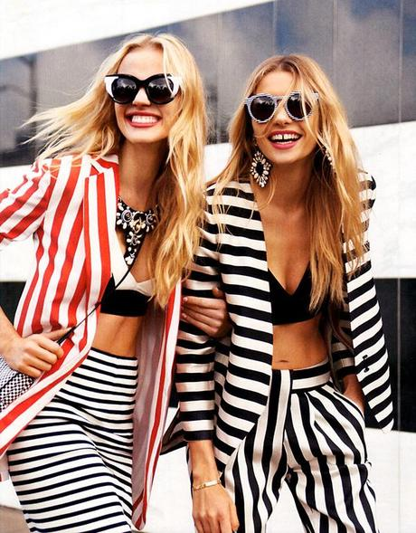 Anne Vyalitsyna and Jessica Hart for Harper's Bazaar US March issue by Tommy Ton 2