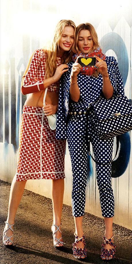 Anne Vyalitsyna and Jessica Hart for Harper's Bazaar US March issue by Tommy Ton 3