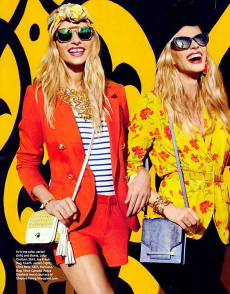 Anne Vyalitsyna and Jessica Hart for Harper's Bazaar US March issue by Tommy Ton
