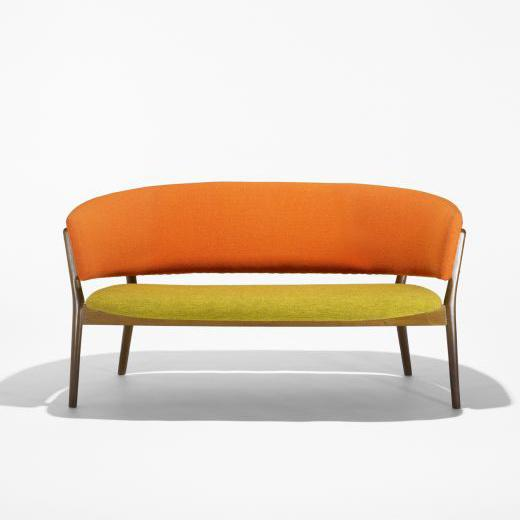 Yellow and orange love seat.