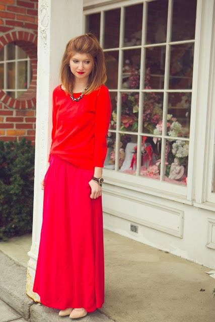 outfit: red & pink