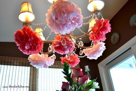 Pom Poms on the chandelier