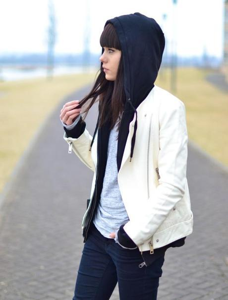 outfit black men's hooded sweater and leather jacket