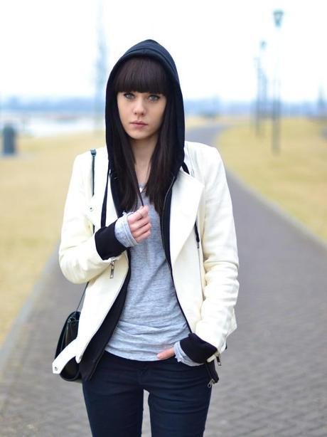 black hoodie white leather jacket