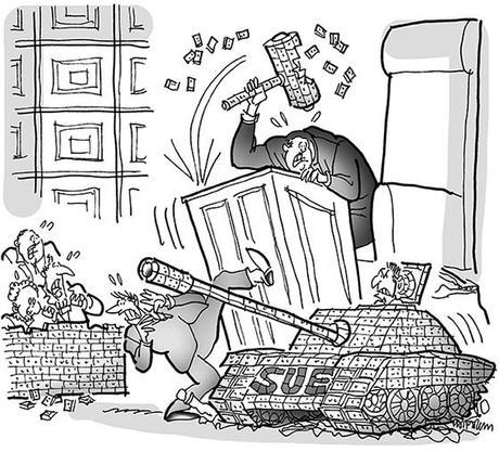 cartoon illustration for strange lawsuit involving master LEGO builder who sued Toys R Us for giving him cheaper than advertised bonus sets when he made major purchase; plaintiff is crashing into courtroom in tank made of LEGOs; judge pounding gavel made of LEGOs; jury building jury box made of LEGOs