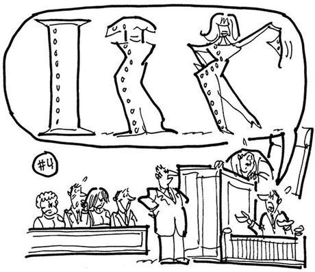 cartoon illustration for strange lawsuit steel salesman sued his employer steel supply company for firing him for refusing to take prospective customers to strip clubs; witness describing situation steel I-beam morphing into stripper with bikini bottom