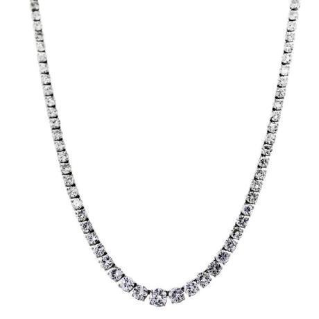 25 Carat Diamond White Gold Diamond Tennis Riviere Necklace, tennis necklace, palm beach show tennis necklace