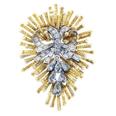 DAVID WEBB Custom Designed Jacket Diamond Pin, david webb pin, diamond brooch palm beach