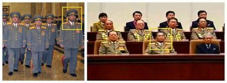 Kim Jong Gak visits Ku'msusan on 16 February 2013 (L) and attends a national report meeting commemorating KJI's birth anniversary on 15 February 2013 (Photos: Rodong Sinmun and KCTV screengrab)