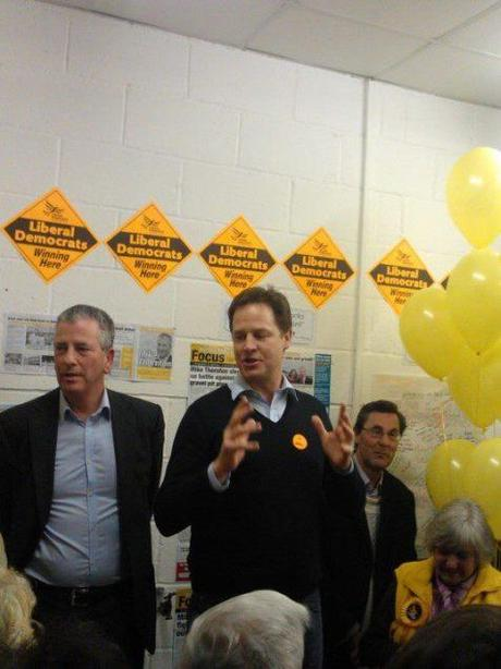 Clegg with Eastleigh candidate Mike Thornton
