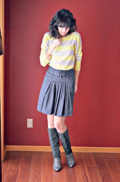 yellow top and gray skirt