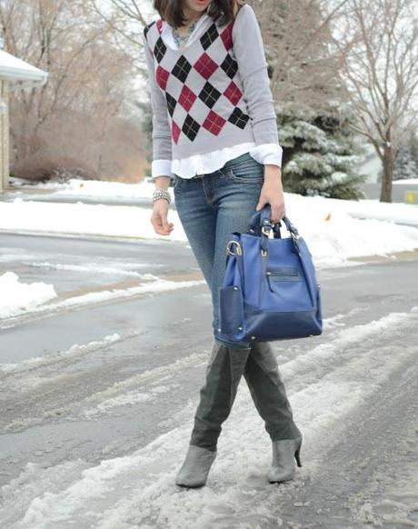 diamond sweater and button down and blue bag