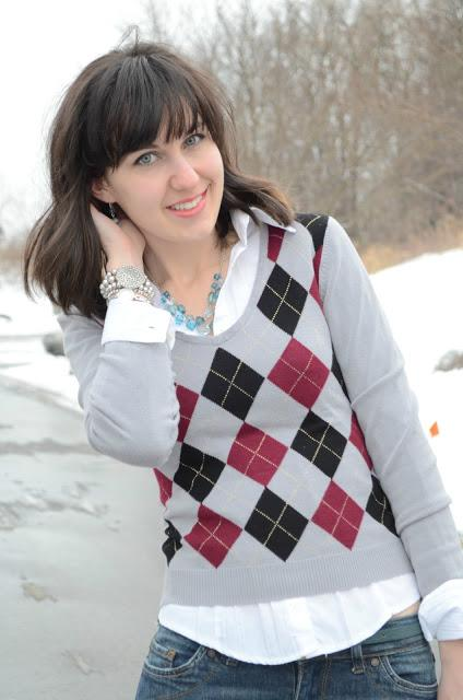 diamond sweater and button down
