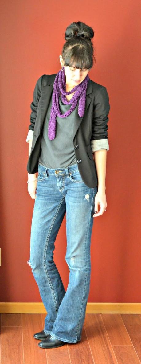 purple scarf and blazer