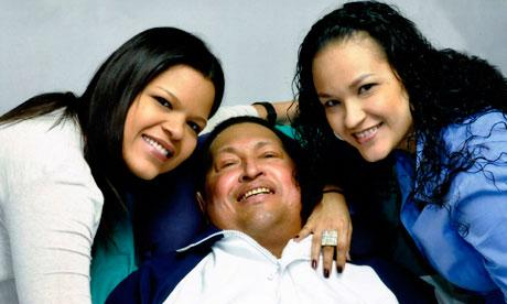 Hugo Chavez with his daughters