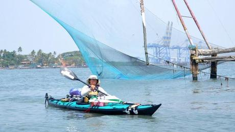 Sandy Robson, who is kayaking from Germany to Australia, arrives at Fort Kochi on Saturday. Photo: H. Vibhu