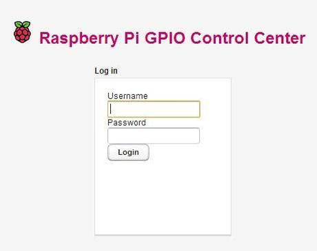 Raspberry Pi GPIO Control Center - Login Module