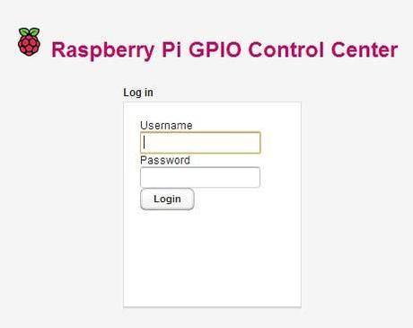 Raspberry Pi GPIO Control Center - Login Module