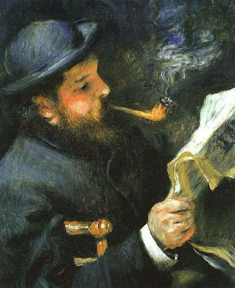 Claude Monet Reading- by Pierre August Renoir-1872 - oil on canvas