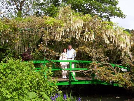 Jean & Bob on Water Lily Pond bridge - Giverny - France