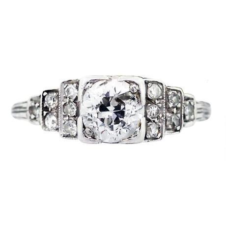Platinum and Diamond Vintage Engagement Ring, antique engagement rings florida