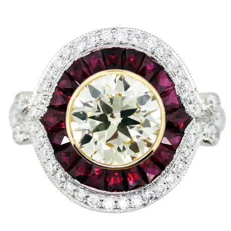 2 Carat Halo Style Engagement Ring, ruby halo engagement ring, art deco engagement ring