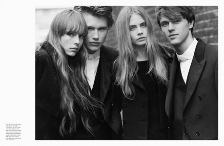 Cara Delevingne, Edie Campbell, Alexa Chung, Olympia Campbell, Henry Chalker, Raff Law, Tara Ferry, Paddy Mitchell and Arthur Law by Bruce Weber for Love Winter 2013 7