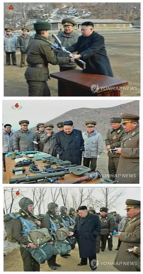 During his inspection of KPA Unit #323 and its 4th Battalion, he presents an automatic rifle (top) to commemorate his field inspection and examines the unit's equipment (bottom images) (Photos: KCTV-Yonhap)