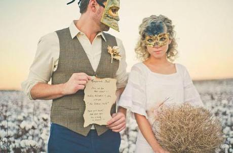 hipster shabby chic masquerade bride and groom costumes