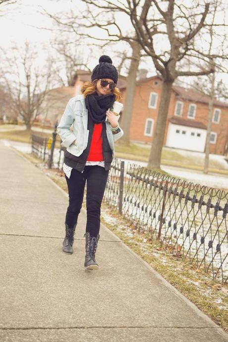 outfit: jean jacket layers