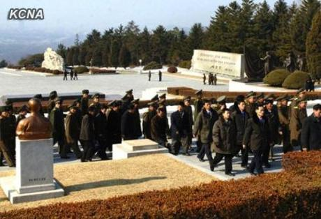 Personnel involved in the DPRK's third nuclear test visit the Revolutionary Martyrs' Cemetery in Pyongyang on 21 February 2013 (Photo: KCNA)